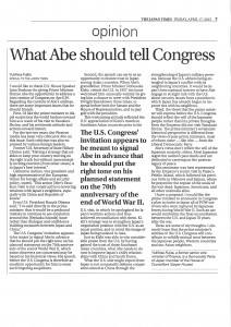 【THE JAPAN TIMES】What Abe should tellCongress