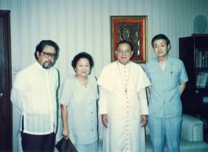 1991年、1986年の人民革命の立役者フィリピンのシン枢機卿と