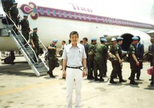 1993年自衛隊の海外派遣となるカンボジアPKO部隊の到着を迎える。