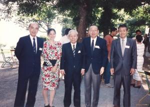 1994年7月スイス・コーで。(左から)山下俊彦松下電器相談役、藤田玲子、賀来龍三郎キヤノン会長、奈良久爾三菱総研会長、藤田幸久