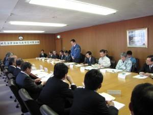 参議院財政金融委員長として茨城県の被災企業金融支援緊急対策会議で挨拶