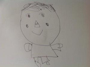 孫が描いてくれた私の似顔絵です