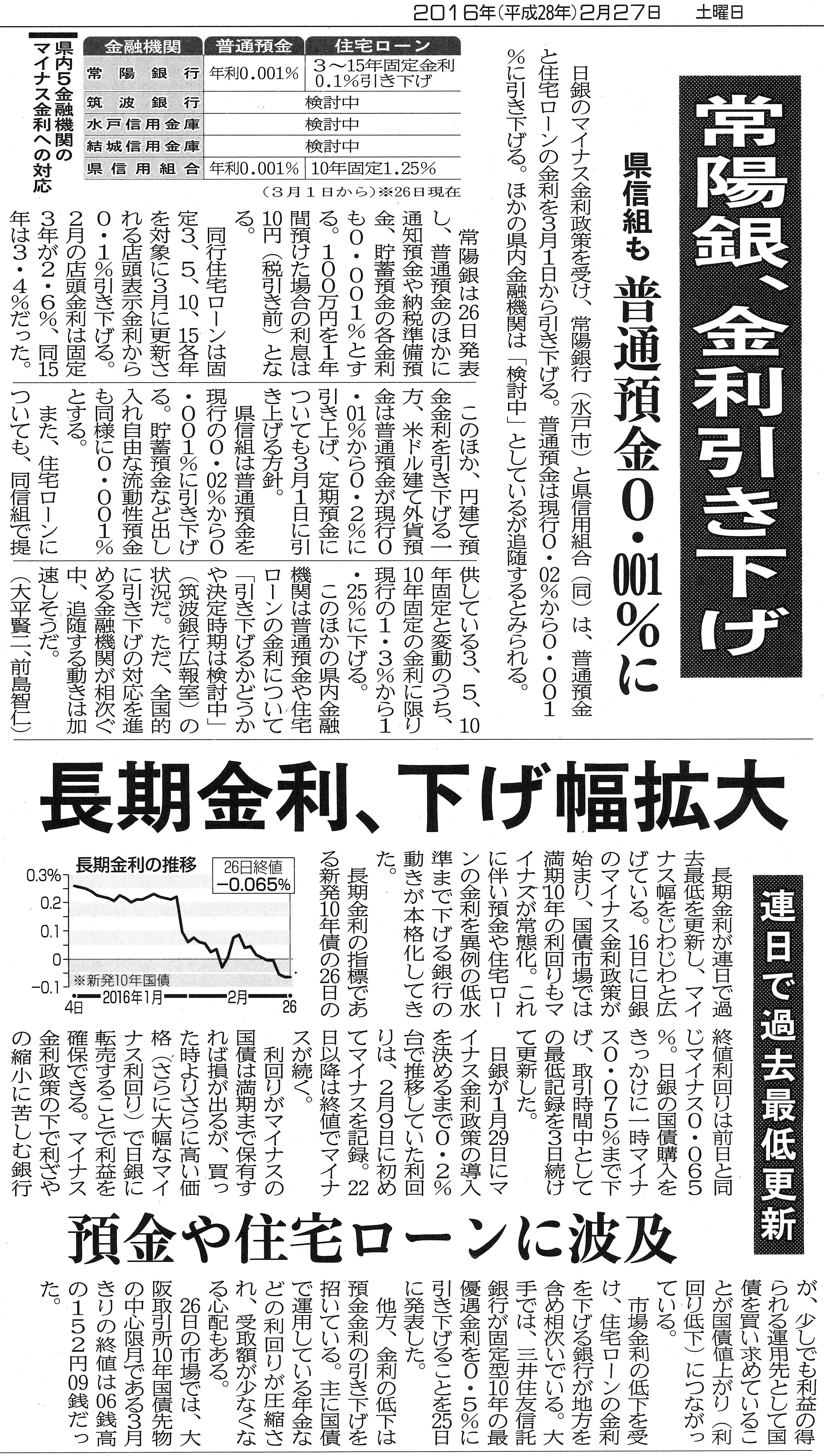 【茨城新聞】常陽銀、金利引き下げ 長期金利、下げ幅拡大