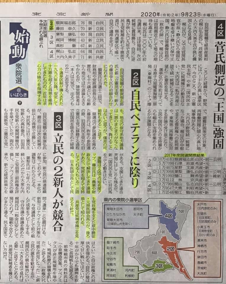 東京新聞に茨城第二選挙区の分析記事